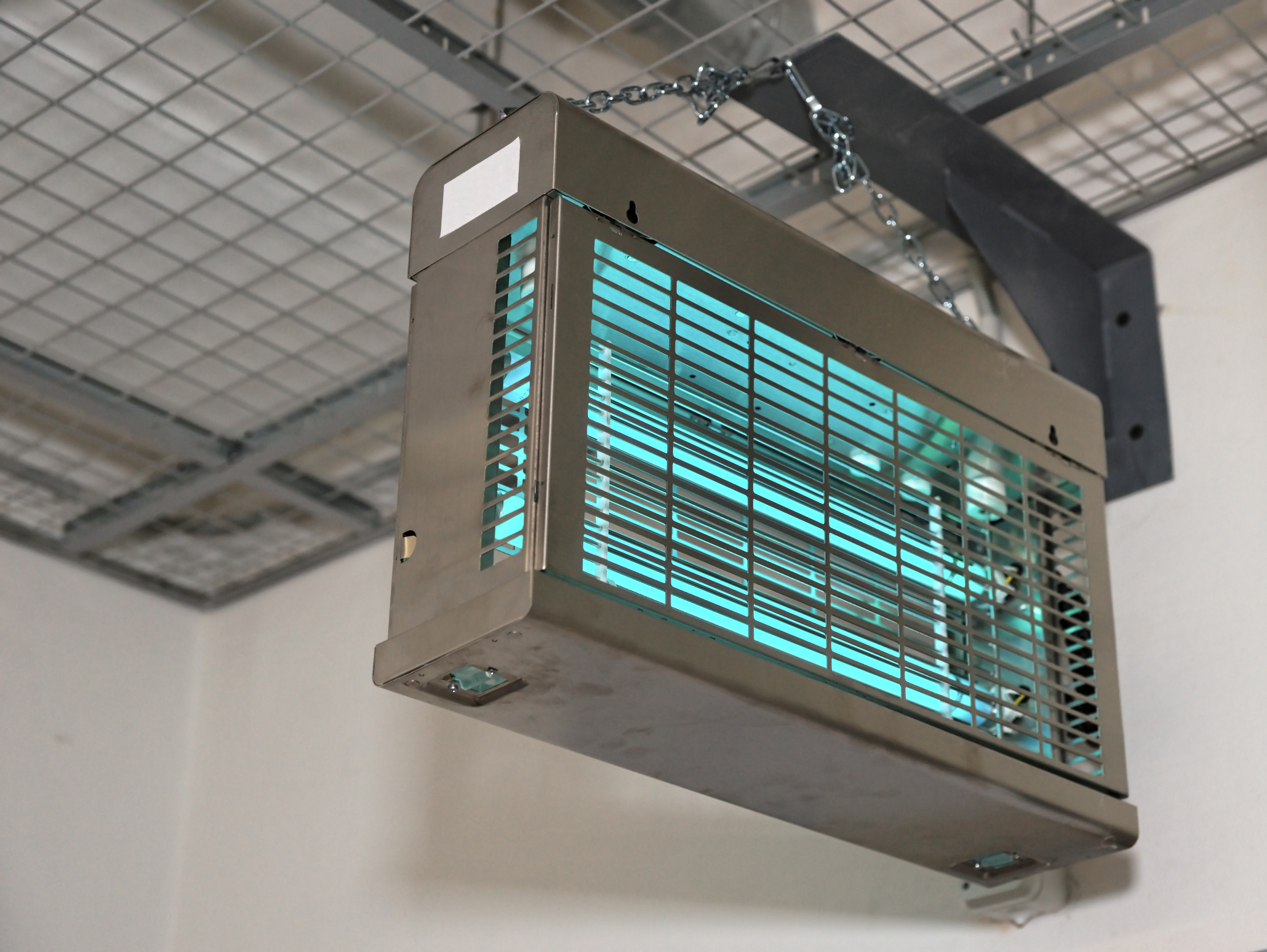 Ultraviolet lamps used to sterilize air, copy space